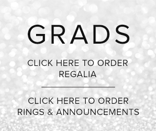 Picture with a sparkling background. GRADS. Click here (top link) to order regalia. Click here (bottom link) to order rings and announcements.