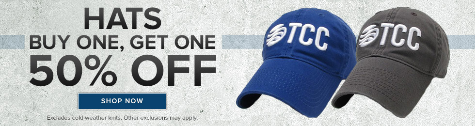 Picture of logoed hats. HATS. Buy one, get one 50% off. Excludes cold weather knits. Other exclusions may apply. Click to shop now.